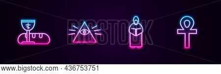 Set Line First Communion Symbols, Masons, Monk And Cross Ankh. Glowing Neon Icon. Vector
