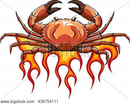 Vector Angry Crab With Claws On Flames