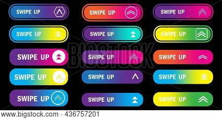 Collection Of Swipe Up Icons. Black Background. Communication Element. Modern Line Art. Vector Illus