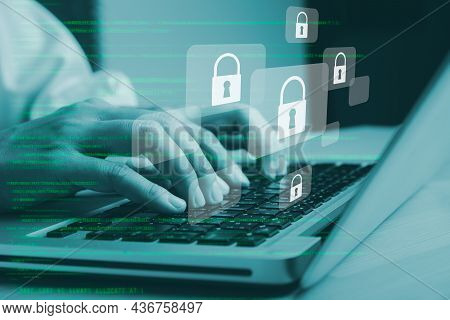 Business Woman Hand Using Computer With Padlock Security Interface To Protect Data, Internet Network