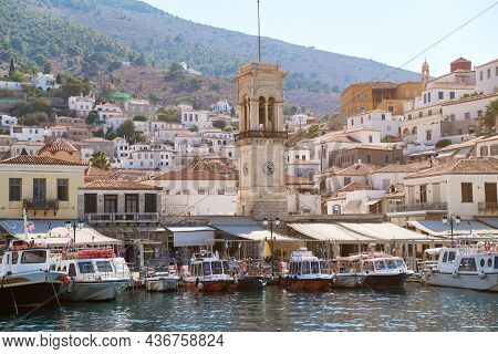View From The Sea To The Hydra Marina Sea Port, Greece