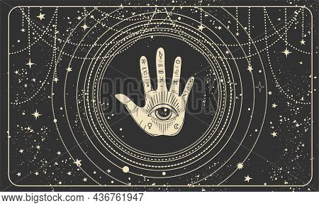 Frame For Astrology, Tarot, Palmistry, Fortune Telling. Palm And All-seeing Eye On A Black Mystical