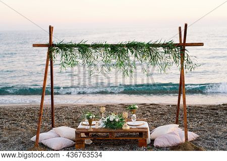 Festive Table Setting. Luxury Decorated Table For A Romantic Date. Festive Details Tablecloth, Candl