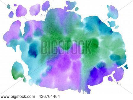 Abstract Colorful Watercolor Circle Blobs On White Background. Hand Drawn Rainbow Colored Drops. Mot