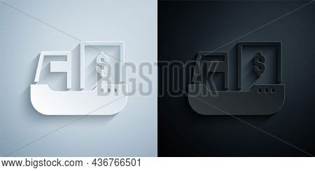 Paper Cut Cargo Ship With Boxes Delivery Service Icon Isolated On Grey And Black Background. Deliver