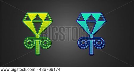 Green And Blue Stud Earrings Icon Isolated On Black Background. Jewelry Accessories. Vector