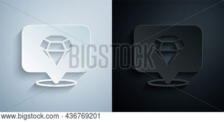 Paper Cut Diamond Icon Isolated On Grey And Black Background. Jewelry Symbol. Gem Stone. Paper Art S