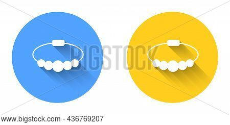 White Bracelet Jewelry Icon Isolated With Long Shadow Background. Bangle Sign. Circle Button. Vector