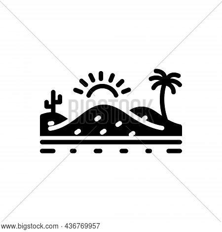 Black Solid Icon For Desert Sand Sandbar Thorn Landscape Cactus Barren Infertile Natural Sun