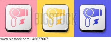 Isometric Hair Dryer Icon Isolated On Pink, Yellow And Blue Background. Hairdryer Sign. Hair Drying