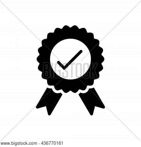 Black Solid Icon For Officially Governmentally Certificate Stamp Award