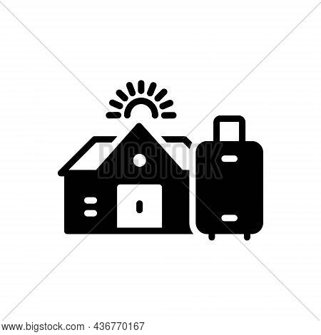 Black Solid Icon For Pg Hostel Dorm Dormitory Paying Guest Building Residential Luggage