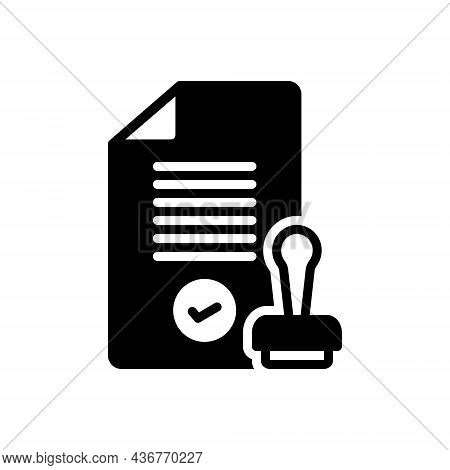 Black Solid Icon For Cleared Processed Improved Approved Assumptive Assumed