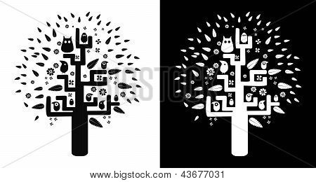 Black-and-white tree of desires