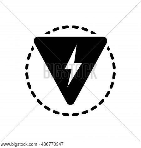 Black Solid Icon For Danger Peril Hazard Risk Jeopardy Thunder Lighting Flash Power