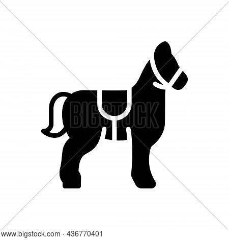 Black Solid Icon For Mustang Steed Horse Equestrian Races Ride