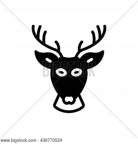 Black Solid Icon For Deer Head Antelope Animal Antler Horn Elk Reindeer Forest