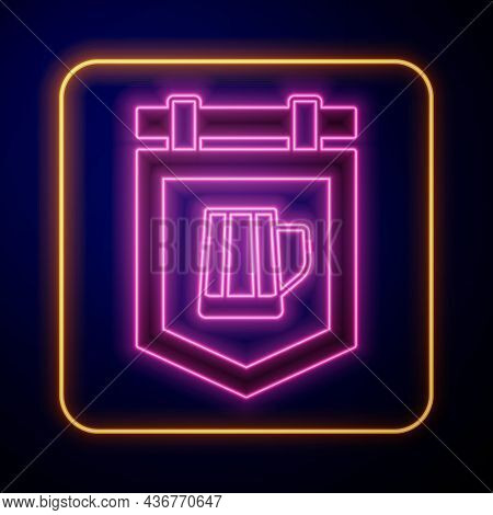 Glowing Neon Street Signboard With Glass Of Beer Icon Isolated On Black Background. Suitable For Adv