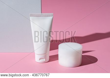 Set Of Skin And Body Care Products In White Blank Packaging. Plastic Tube And Cream Jar. Unbranded P
