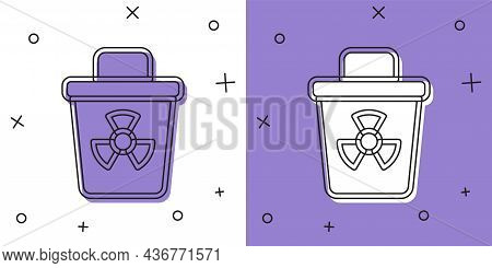 Set Infectious Waste Icon Isolated On White And Purple Background. Tank For Collecting Radioactive W