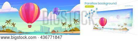 Tropical Landscape With Flying Hot Air Balloons, Sea Bay, Palm Trees On Beach And Mountains On Horiz