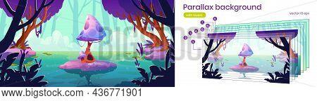Parallax Background Fantasy 2d Landscape With Huge Mushroom In Forest Pond Or Swamp. Alien Planet Na