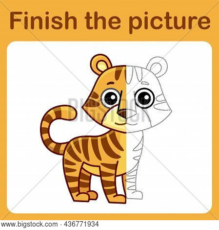 Connect The Dot And Complete The Picture. Simple Coloring Tiger. Drawing Game For Children
