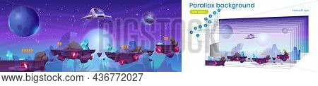 Mobile Space Game Arcade With Spaceship Parallax Background, Interstellar Shuttle Collect Assets On