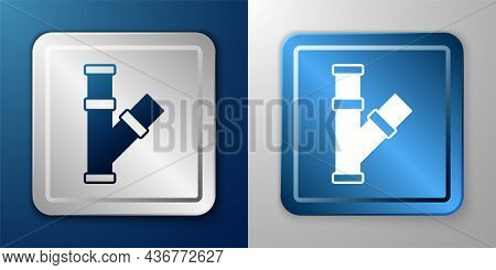 White Industry Metallic Pipe Icon Isolated On Blue And Grey Background. Plumbing Pipeline Parts Of D