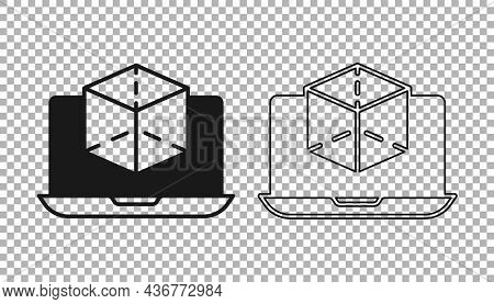 Black 3d Modeling Icon Isolated On Transparent Background. Augmented Reality Or Virtual Reality. Vec