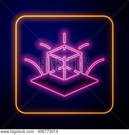 Glowing Neon 3d Modeling Icon Isolated On Black Background. Augmented Reality Or Virtual Reality. Ve