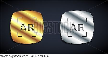 Gold And Silver Augmented Reality Ar Icon Isolated On Black Background. Virtual Futuristic Wearable