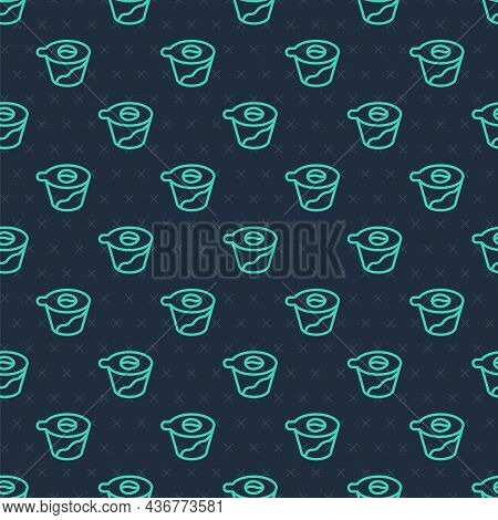 Green Line Pour Over Coffee Maker Icon Isolated Seamless Pattern On Blue Background. Alternative Met