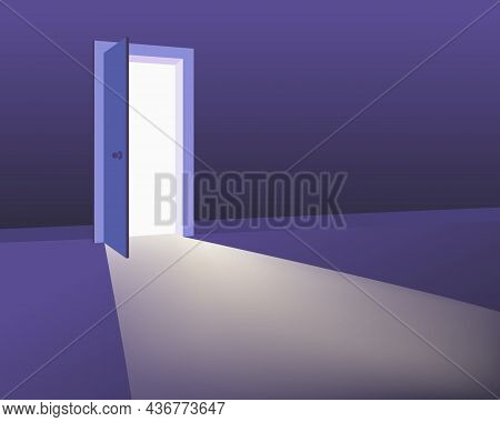 Open Door In Interior, Discovery, Ventures, Oportunitites Concept. Symbol New Career, Exit, New Life