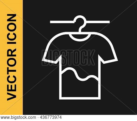 White Line Drying Clothes Icon Isolated On Black Background. Clean Shirt. Wash Clothes On A Rope Wit