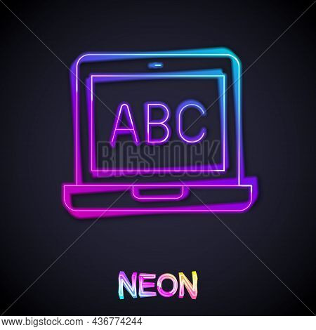 Glowing Neon Line Laptop Icon Isolated On Black Background. Computer Notebook With Empty Screen Sign