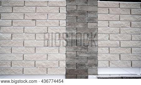 Wall Texture From White And Gray Bricks. Brick Wall, Gray White Bricks Wall Texture Background For G