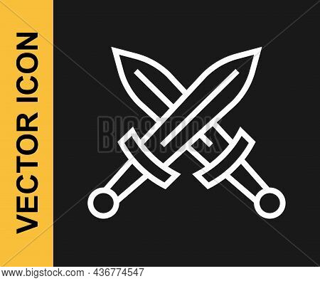 White Line Crossed Medieval Sword Icon Isolated On Black Background. Medieval Weapon. Vector