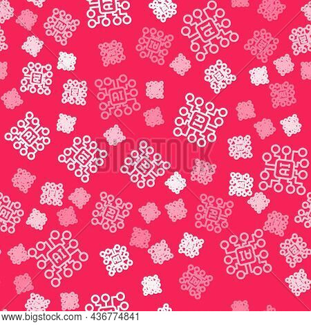 White Line Neural Network Icon Isolated Seamless Pattern On Red Background. Artificial Intelligence
