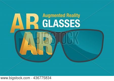 Augmented Reality - Ar Glasses Concept. New Technology Of Wearable Electronics. Vector Illustration
