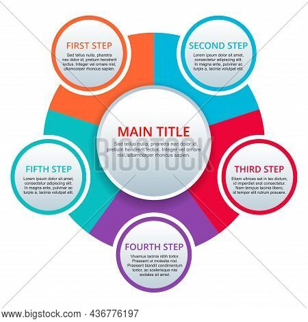 5 Steps Infographic Template. Five Points, Options With Colorful Circular Options Fragments Connecte