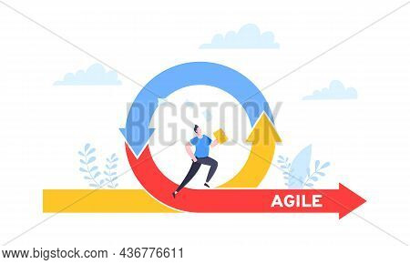 Agile Development Methodology Business Concept Flat Style Design Vector Illustration Isolated On Whi