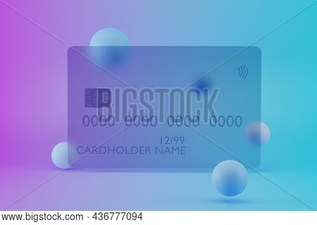 Transparent Glass Credit Card On Background With Abstract Pattern. Bank Cards Mock Up, 3d Illustrati