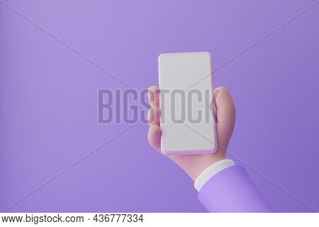 Smartphone Mockup. Cartoon Hand Holding Smartphone With Empty White Screen On Violet Background, 3d