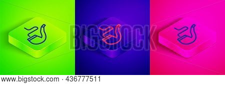 Isometric Line Smoking Pipe With Smoke Icon Isolated On Green, Blue And Pink Background. Tobacco Pip
