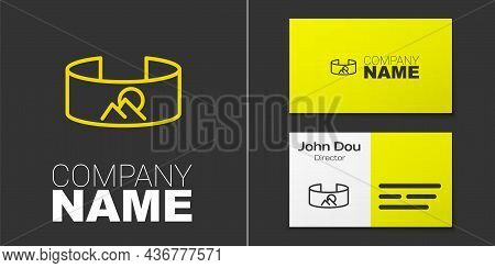 Logotype Line 360 Degree View Icon Isolated On Grey Background. Virtual Reality. Angle 360 Degree Ca