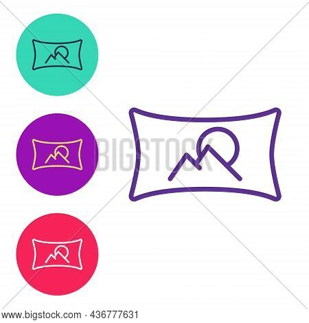 Set Line Wide Angle Picture Icon Isolated On White Background. Panorama View. Set Icons Colorful. Ve