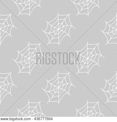 Halloween Seamless Pattern With Splay White Cobwebs On Grey Background. Flat Vector Illustration. Us