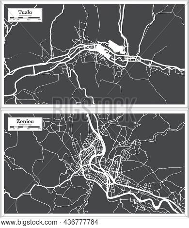 Zenica and Tuzla Bosnia and Herzegovina City Map Set in Black and White Color in Retro Style. Outline Map.