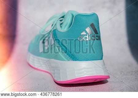 Kiev Ukraine - October 2021 Blue Adidas Running Boots. Multinational Company. Product Shots. Adidas